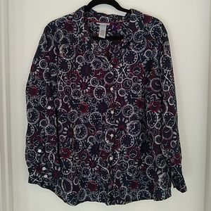 Catherine's 2X petite button down with clock print